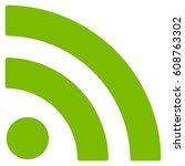 rss vector icon. flat eco green ...