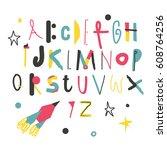 modern abc for kids.   Shutterstock .eps vector #608764256