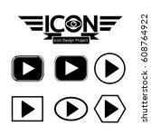 play button icon | Shutterstock .eps vector #608764922