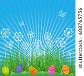 easter background with cute... | Shutterstock .eps vector #608765756