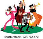 jazz band performing  eps 8... | Shutterstock .eps vector #608766572