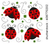 vector illustration of ladybugs | Shutterstock .eps vector #608770202