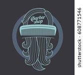 barber shop logo templates.... | Shutterstock .eps vector #608771546