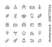 birthday outline icons