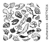 vector seafood  hand drawn... | Shutterstock .eps vector #608774216