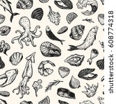 vector seafood  hand drawn... | Shutterstock .eps vector #608774318