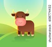 cute cartoon bull is standing... | Shutterstock .eps vector #608774432