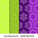 set of seamless pattern.... | Shutterstock .eps vector #608781032