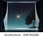 view of deep forest and comet... | Shutterstock .eps vector #608782688