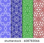 set of 4 decorative line... | Shutterstock .eps vector #608783066