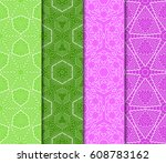 set of seamless pattern.... | Shutterstock .eps vector #608783162