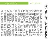 household appliances line icons ... | Shutterstock .eps vector #608787752