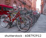 bicycles on the old street in... | Shutterstock . vector #608792912