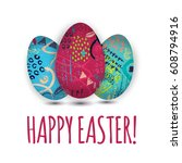 colorful easter eggs on white... | Shutterstock .eps vector #608794916