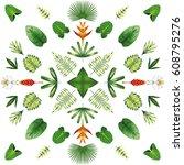symmetrical geometric circular... | Shutterstock .eps vector #608795276