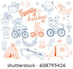 set of cute doodle family and... | Shutterstock . vector #608795426