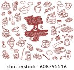 big  collection of doodle tae... | Shutterstock . vector #608795516