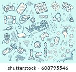 doodle  collection of virtual... | Shutterstock . vector #608795546