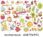 cute doodle collection of... | Shutterstock . vector #608796992
