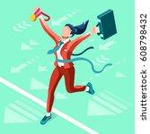 success job isometric people 3d ... | Shutterstock .eps vector #608798432