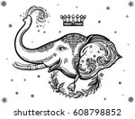 decorative vector elephant with ... | Shutterstock .eps vector #608798852