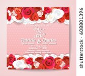 wedding invitation card... | Shutterstock .eps vector #608801396
