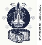 space shuttle takes off tattoo... | Shutterstock .eps vector #608803622