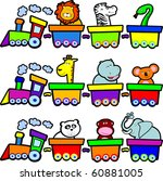 a small train carries lots of... | Shutterstock .eps vector #60881005