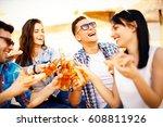 happy people drink beer and... | Shutterstock . vector #608811926