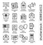 advertising and media icons   Shutterstock .eps vector #608816012