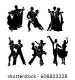 a set of dancing couples.... | Shutterstock .eps vector #608822228
