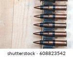 machine gun wood box cartridges ... | Shutterstock . vector #608823542