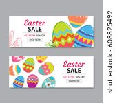 easter sale banner template... | Shutterstock .eps vector #608825492