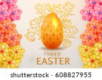 happy easter  greeting card  | Shutterstock .eps vector #608827955