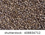 roasted coffee beans on grunge... | Shutterstock . vector #608836712