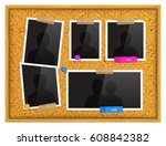 cork notice board with photo... | Shutterstock .eps vector #608842382