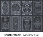 vintage set retro cards.... | Shutterstock .eps vector #608842412