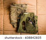 vintage army short pants and... | Shutterstock . vector #608842835