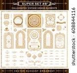 calligraphic frames and border... | Shutterstock .eps vector #608844116