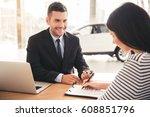 visiting car dealership.... | Shutterstock . vector #608851796