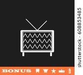 tv icon flat. white pictogram...