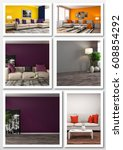 collage of modern home interior.... | Shutterstock . vector #608854292
