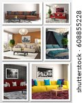 collage of modern home interior.... | Shutterstock . vector #608855228