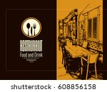 restaurant menu design. vector... | Shutterstock .eps vector #608856158
