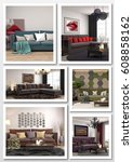 collage of modern home interior.... | Shutterstock . vector #608858162