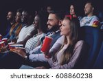 group of people watching movie...   Shutterstock . vector #608860238