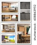 collage of modern interior. 3d... | Shutterstock . vector #608863952