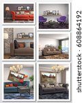 collage of modern home interior.... | Shutterstock . vector #608864192