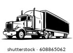 Semi Trailer Truck. Black And...