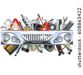 vector front car part with car... | Shutterstock .eps vector #608865422